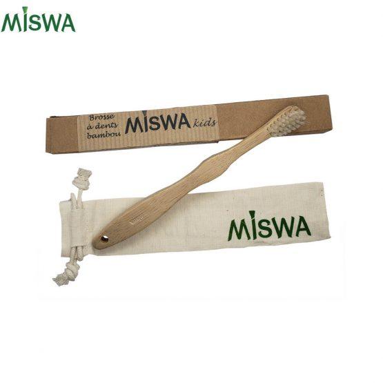 Brosse à dents KIDS pour enfant et son sac en coton bio MISWA