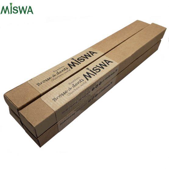 Lot de 4 brosses à dents en bambou MISWA